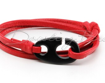 Brummel Hook on Red Leather Bracelet for Men or Women