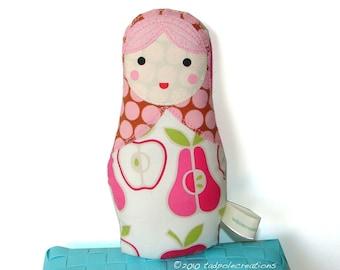 Matryoshka Babushka Russian Cloth Baby Doll - Toddler Girl - Pink Apple and Pear  - Girls Birthday - New Baby Gift