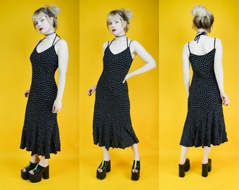 90s Black Polka Dot Summer Midi Dress S