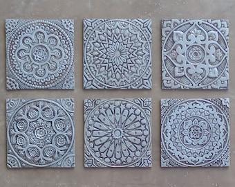 Ceramic wall art with ethnic design mandala wall art outdoor outdoor wall art set of 6 tiles various designs garden ppazfo