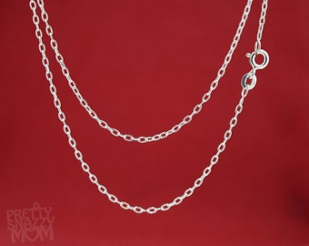 "Choice of 14"", 16"", 18"", 20"", 24"" Sterling Silver 925 Oval Cable Link Chain Necklace"