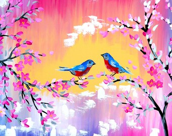 painting, paintings, for gifts, of, sunset, 2 birds, with cherry blossom, cherry blossoms, cherry blossom painting, on canvas,love,romantic,