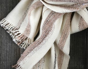 """Hand Woven Alpaca-Wool Scarf - 68""""x18"""" - Beige-Brown-Off-White - Wide and Long"""