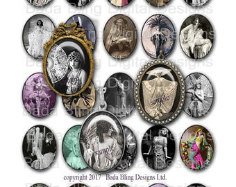 30mm  x 40mm, Costumes and Couture, INSTANT Download, collage sheets for jewelry, vintage women, art deco, victorian, Casino de Paris