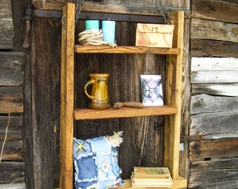 "Ladder shelf, wall bookshelves, ladder bookshelf, wooden ladder shelf, shelves for sale,solid wood furniture, rustic furniture ""Rutger"""