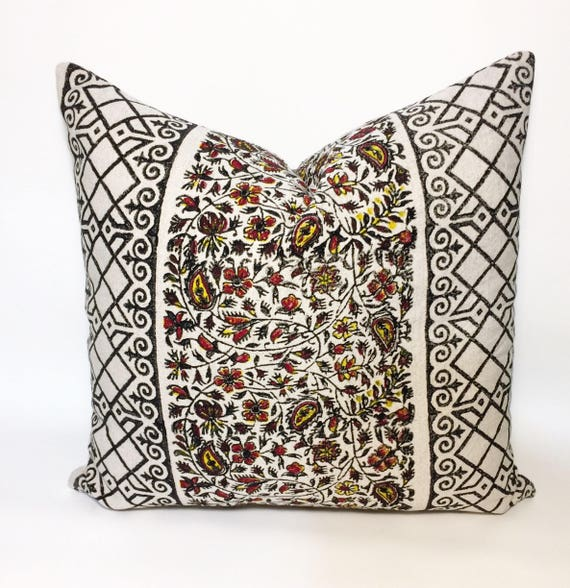 "Hand block printed black and yellow pillow | decorative cushions|home decor| linen pillowcase|pillow cover 18""x18"""