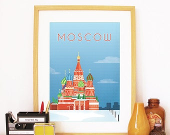 Moscow Print, Moscow Skyline, Moscow Art, Moscow Poster, Moscow Watercolor, Moscow Art Print, Moscow Map, Moscow Wall Art, Russia Art
