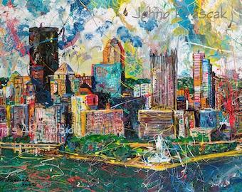 Pittsburgh Skyline art, Modern wall art, Metal prints, Pittsburgh Artist, City Skyline, Three Rivers ,The Point,  by Johno Prascak