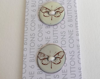 Enameled Butterfly Button -Card of 2