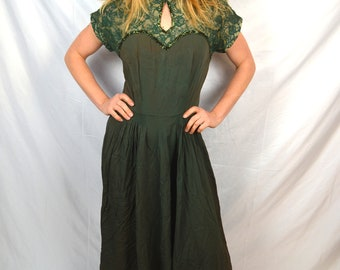 Vintage Green Lace Beaded 1940s 40s Rayon Dress Gown
