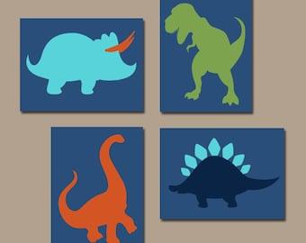DINOSAUR Wall Art Canvas or Prints Boy DINOSAUR Theme Baby Boy Nursery Decor Big Boy Bedroom Wall Decor DINO Silhouettes Set of 4 Decor  sc 1 st  Etsy & DINOSAUR Wall Art Dinosaur Canvas or Prints Dinosaur Decor