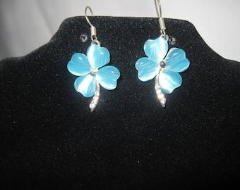 Silver Tone Blue Flower Earrings