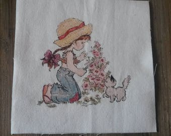 Fabric tile 15 X 15 cm / sew or glue / girl illustration