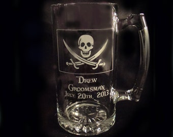 Personalized Pirate Beer Mugs, Set of 2 - Man Cave Gift - Pirate Gift - Grooman Gift - Groom - Best Man - Wedding Party Gift