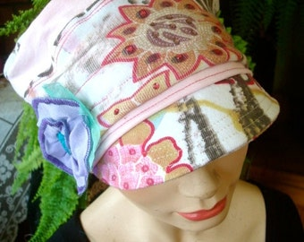 Womens hats newsboy hat newsboy cap chemo slouchy hat pastel floral