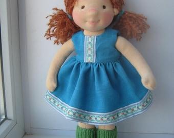 """Waldorf doll 16"""", waldorf fabric doll, steiner doll, cloth doll, gift for girl, organic doll, waldorf toy"""