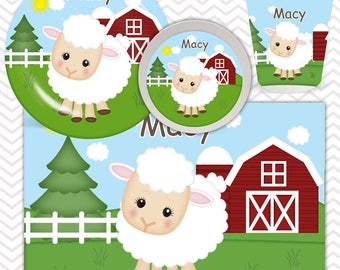 Sheep Plate, Bowl, Cup, Placemat - Personalized Farm Dinnerware for Kids - Custom Tableware