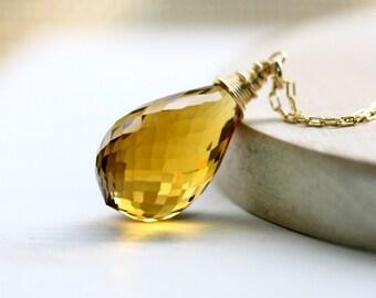 Gemstone Necklace, Citrine necklace, gem necklace, long gemstone necklace, Gold Necklace, Goldfilled Necklace, November birthstone