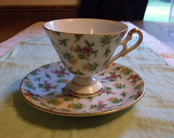 Vintage Floral Pedastal Tea Cup and Saucer