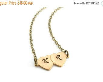 20%OFF SALE Personalized Initial Necklace, Double Heart Necklace, Hand Stamped Jewelry, Custom Jewellry