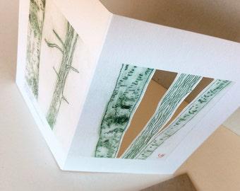 2 Grusskarten-Set Recycling Papier Klimaneutral gedruckt in Berlin BÄUME Radierung