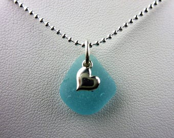 Aqua sea glass necklace with a heart in sterling silver by Monterey Bay Seaglass