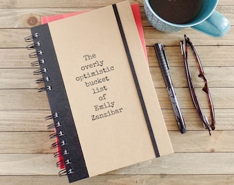 Bucket List Journal Personalized Journal Writing Notebook Personalized Gift Spiral Notebook BL1