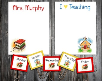 Teacher Notepad Set Personalized Stationery Set- 2 Notepads plus 5 free Bookmark Page Clips - Makes a great gift - School Notes