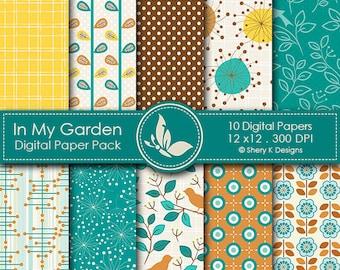 In My Garden Paper Pack - 10 printable Digital Scrapbooking papers - 12 x12 - 300 DPI