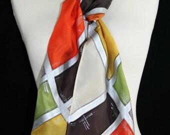Silk Scarf Handpainted. Orange, Terracotta, Brown Hand Dyed Silk Shawl. Handmade Scarf ORANGE GLOW. Size 8x54. Mother Gift, Anniversary Gift