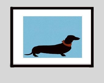 Dachshund Dog - Fine art print, portrait, dog art prints, sausage dog art,  black Silhouette, animal, Dachshund Gifts, Dog Gift Ideas