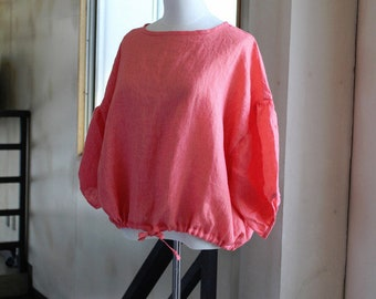 Linen gathering blouse/coral Pink made IN JAPAN
