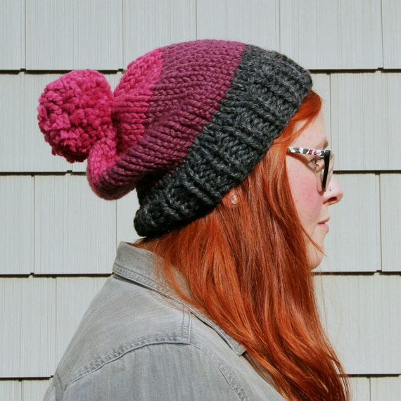 Knit Three-toned Pom Pom Slouchy Beanie Hat - Charcoal, Plum, Raspberry