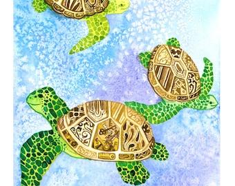 Clockwork Steampunk Turtles Watercolor Print