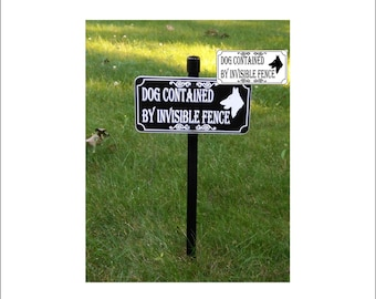 German Shepherd DOG CONTAINED By Invisible FENCE Lawn Sign, Yard Sign
