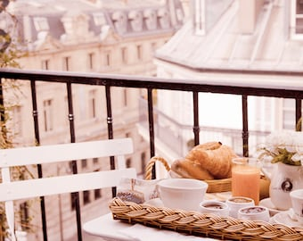 Paris Photography - Breakfast in Paris - Fine art travel photo of a Paris balcony, Parisian rooftops, urban architecture, wall decor