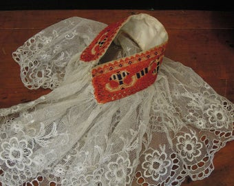 Antique Hand Crafted Lace Collar / Traditional Polish Lace Collar / Polish Folk Dancer Dress