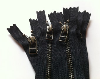 YKK metal zippers with antique brass finish and DHR Wire style pull- (5) pieces - Black 580- available in 4,5,6,7,8,9,10,12,13,14,16,18 Inch