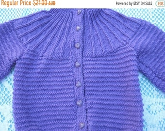 ON SALE Vintage Gorgeous Purple Cardigan Hand Knitted for a Girl Aged around 1 years.
