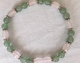 Jade and rose quarts bracelet