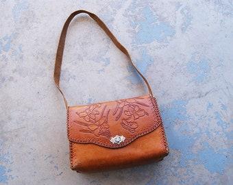 vintage 70s Tooled Leather Purse - 1970s Boho Iris Floral Hippie Shoulder Bag