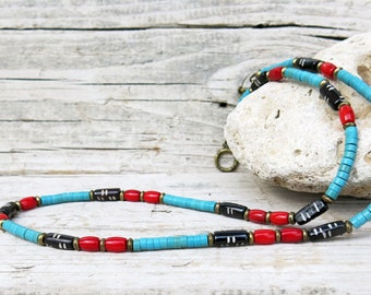 Mens Turquoise Heishi Necklace, Mens Red Coral Necklace, Mens Bone Necklace, Choker Necklace, Tribal Necklace, Mens Beaded Jewelry