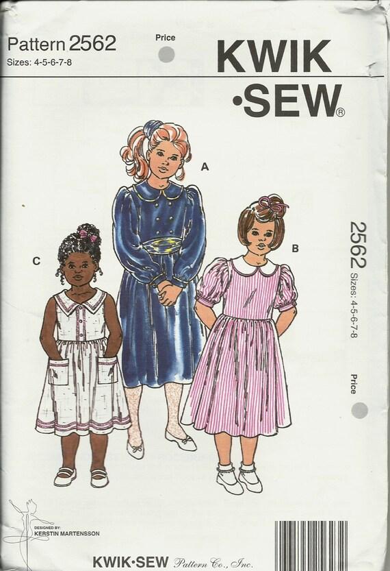 Kwik Nähen 2562 Mädchen Kleider ungeschnitten Größe 45678