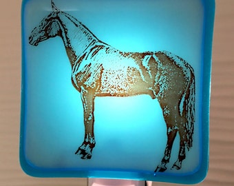 Horse Night Light Fused Glass