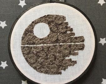 Floral Pop Death Star Hand Embroidery - Original 4 inch Needlework Star Wars Fan Art