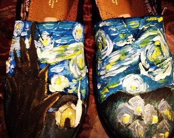 Starry Night Custom Painted Toms Shoes