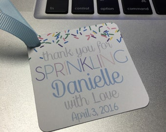 Baby Boy Sprinkle Favor Tags with Ribbon