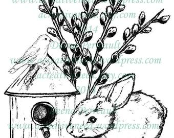 INSTANT DOWNLOAD Spring BUNNY and Bird House, Digital Stamp Image, for Scrapbook, Cards, art journals