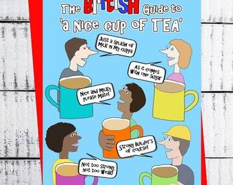 Nice Cup of tea - Jolly Hockey Sticks  -  birthday card greeting blank joke humour