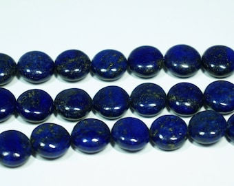 Blue lapis lazuli coin beads. Natural gemstone beads. DIY loose beads. Full strand